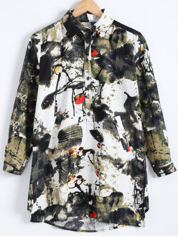 Fashion Loose Chinese Printed Long Sleev High-Low Hem Shirt