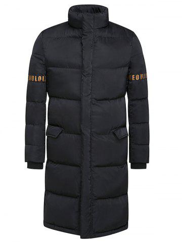 Buy Stand Collar Lengthen Thicken Graphic Print Cotton-Padded Coat BLACK 3XL