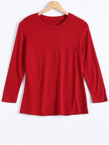 Buy Plus Size Round Neck Long Sleeve Pullover T-Shirt