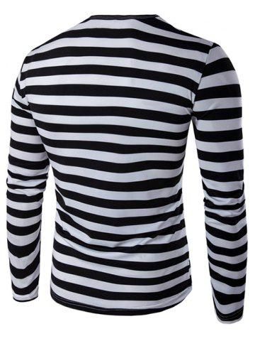 Outfit Long Sleeve Round Neck Striped T-Shirt - 2XL BLACK Mobile