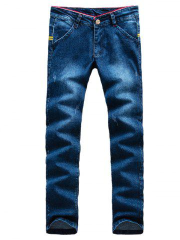 Flèche Motif Patch Zip Fly Jeans Bleu 33