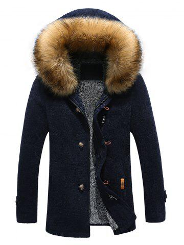 Hot Patch Design Zip-Up Fur Hooded Jacket CADETBLUE XL