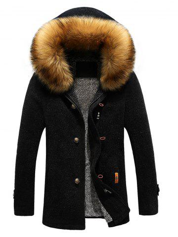 Trendy Patch Design Zip-Up Fur Hooded Jacket