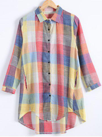 Best Plus Size Checked Long Sleeve Shirt Dress - 2XL COLORMIX Mobile
