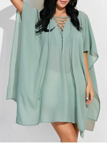 Outfit Plunging Neck Mini Poncho Dress GREEN 2XL