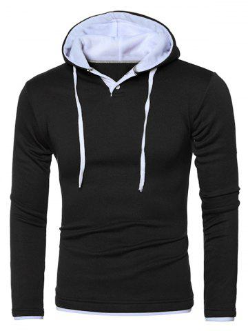 Hooded Color Splicing Long Sleeve Hoodie - White And Black - 2xl