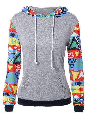 Online Colorful Geometric Print Pocket Embellished String Hoodie
