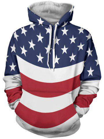 Cheap Stars and Stripes Printed Kangaroo Pocket Hoodie COLORMIX 3XL