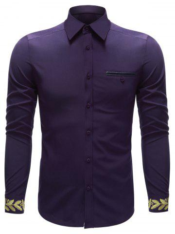 Shops Embroidered Cuff Breast Pocket Button Up Shirt PURPLE XL