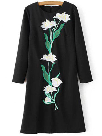 Outfit Floral Embroidered Long Sleeve Sheath Dress BLACK XL
