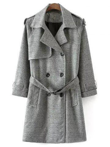 Belted Double-Breasted Houndstooth Walker Coat - White And Black - 2xl