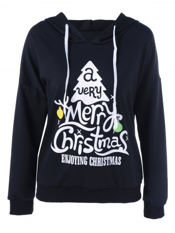 Cheap Enjoying Christmas Pullover Hoodie BLACK L