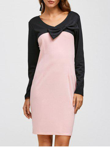 Affordable Bowknot Color Block Knee Length Dress PINK XL