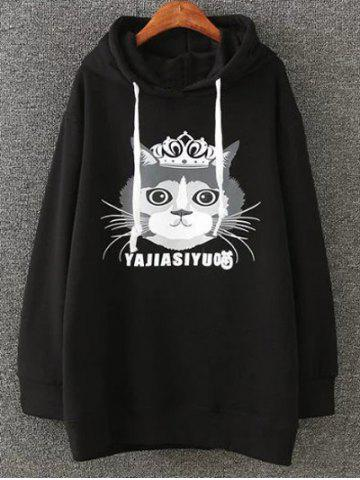 Cartoon Cat Print Fleece Plus Size Hoodie - Black - 4xl