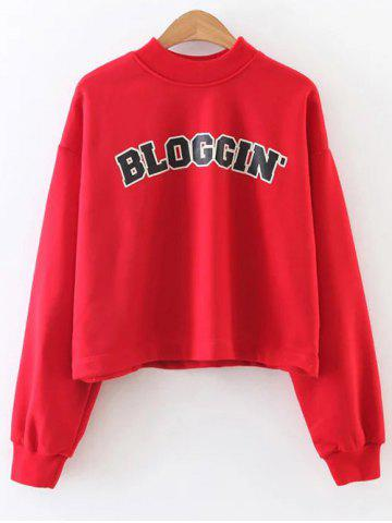 Affordable Mock Neck Graphic Print Cropped Sweatshirt