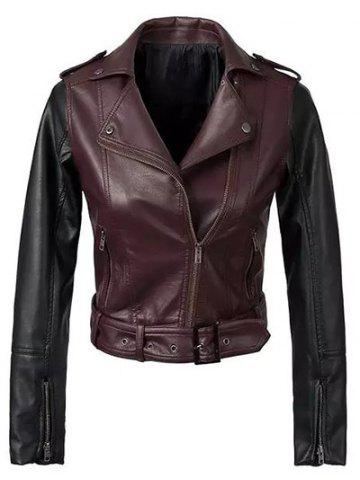 Outfit Color Block PU Leather Biker Jacket WINE RED L