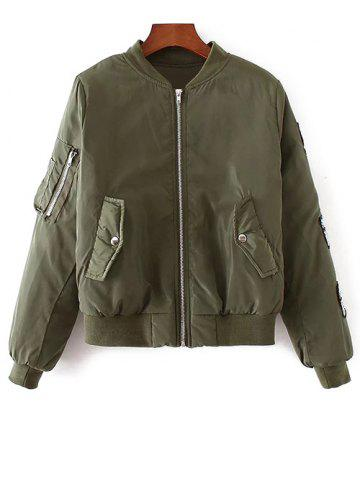 Hot Rhinestoned Patched Zip-Up Jacket ARMY GREEN L
