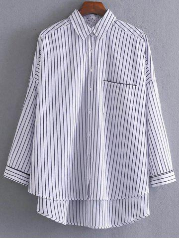 Outfits High-Low Loose Striped Shirt WHITE/BLACK L