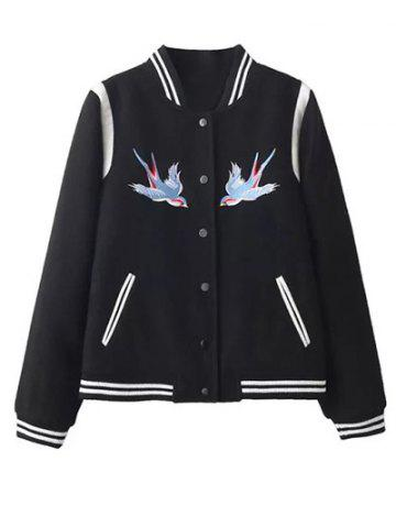 Outfit Embroidered Snap Closure Baseball Jacket BLACK L