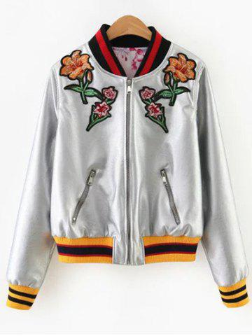 Floral Embroidered PU Leather Jacket - SILVER L