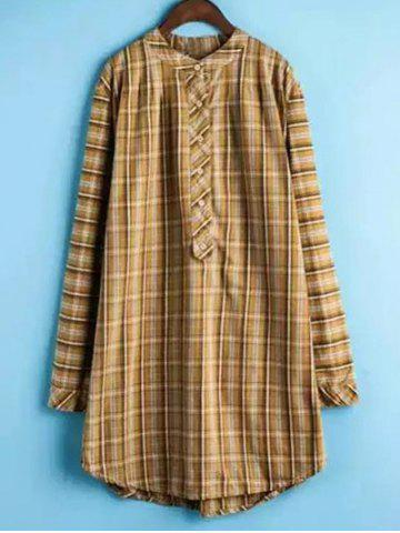 Fashion Long Sleeve Checked Shirt Dress - XL YELLOW Mobile
