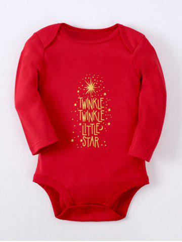 Kids Long Sleeve Letter Baby Romper - Red - 80