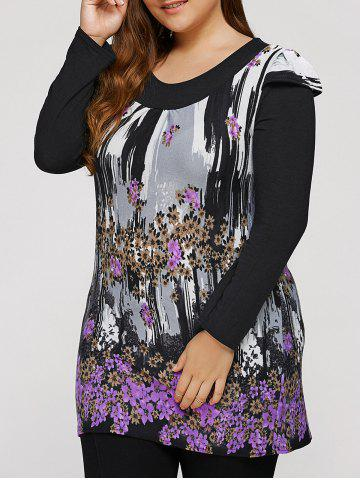 Unique Plus Size Dress With Flowers Waterfall Print
