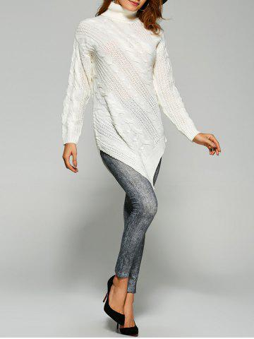 Outfits Pullover Turtleneck Asymmetrical Sweater WHITE ONE SIZE