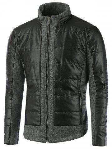 Cheap Stand Collar Zippered Faux Leather Insert Jacket BLACK 2XL