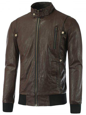 Stand Collar Zip-Up Rib Spliced PU Biker Jacket - Brown - M