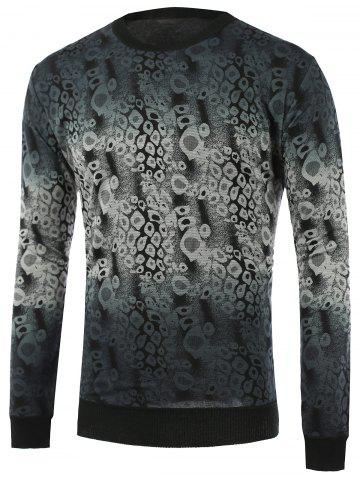 Ombre Abstract Pattern Crew Neck Knitwear - BLACKISH GREEN 2XL