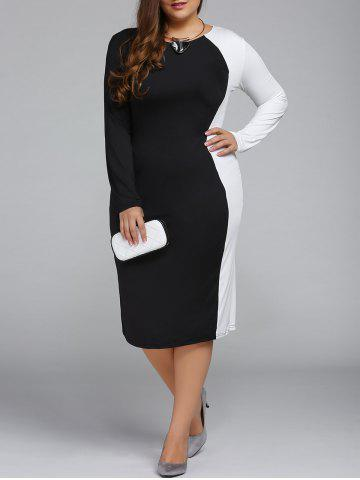 Cheap Plus Size Color Block Long Sleeve Sheath Modest Work Dress BLACK 4XL
