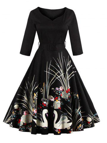 Outfit Vintage Print Belted Flare High Waist Dress BLACK XL