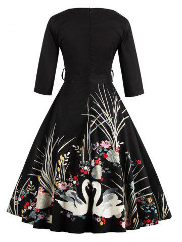 Outfits Vintage Printed Fit and Flare Waisted Dress - M BLACK Mobile