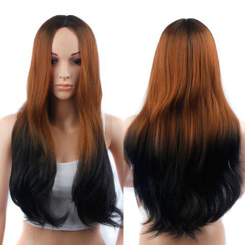 Affordable Long Middle Part Slightly Curled Ombre Color Synthetic Wig