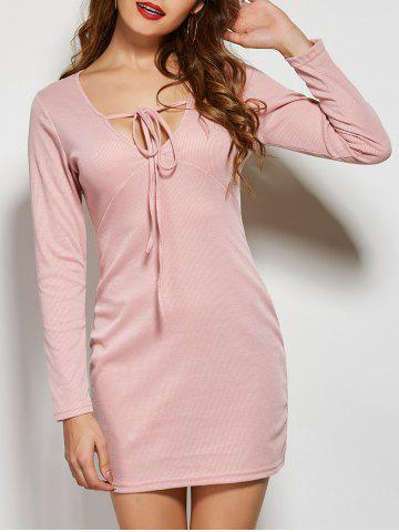 Front Tie Long Sleeve Bodycon Casual Dress - Pink - S