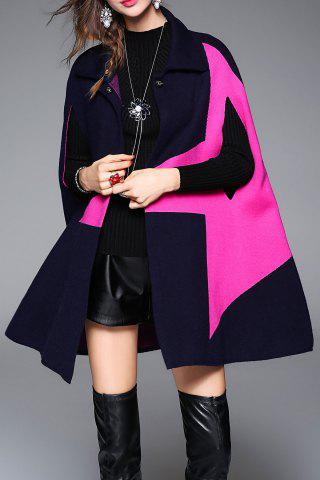 New Color Block Knitted Cape Coat