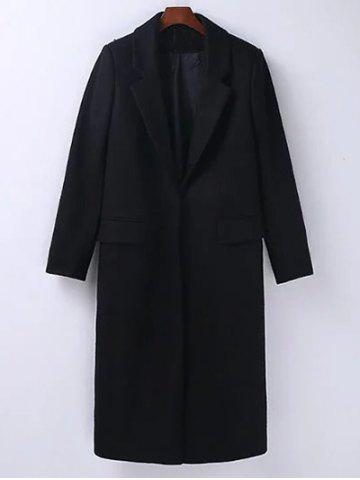 Trendy Lapel Flap Pockets Maxi Wool Blend Coat BLACK M