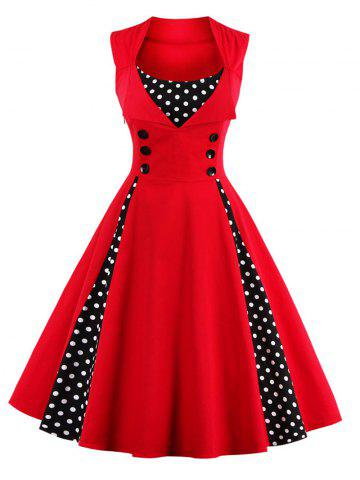 Polka Dot Retro Corset A Line Dress - Red - M