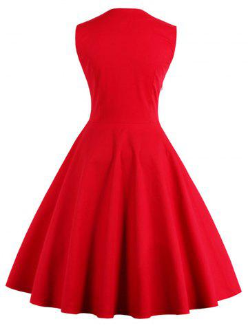 New Polka Dot Retro Corset A Line Dress - S RED Mobile