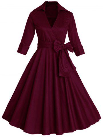 Fancy Vintage Wrapped Formal Evening Midi Skater Dress WINE RED 4XL