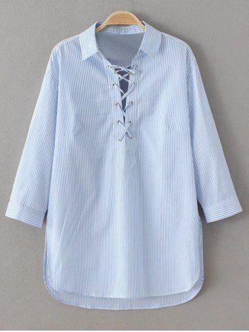 Fancy Striped Lace Up Long Sleeve Blouse BLUE AND WHITE L