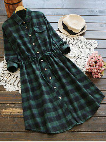 Store Button Up Plaid Pocket A Line Shirt Dress