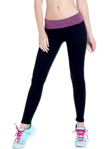 Space Dyed Stretchy Yoga Leggings - Purple - M