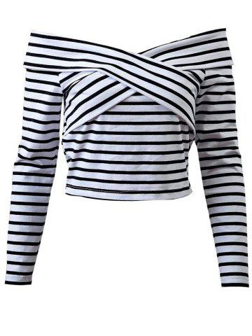 Fashion Off Shoulder Striped Front Criss T-Shirt