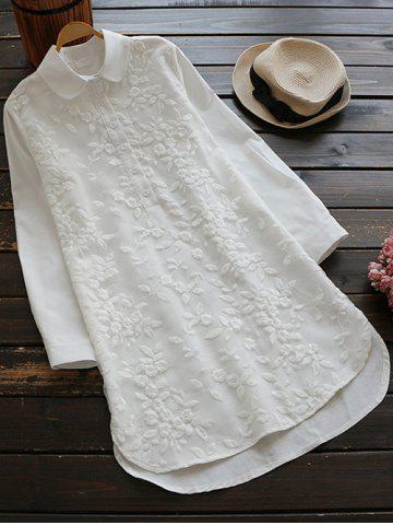 Outfit Long Buttoned Floral Embroidered Linen Shirt