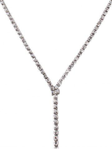 Fancy Long Wide Rhinestone Choker Necklace - SILVER  Mobile