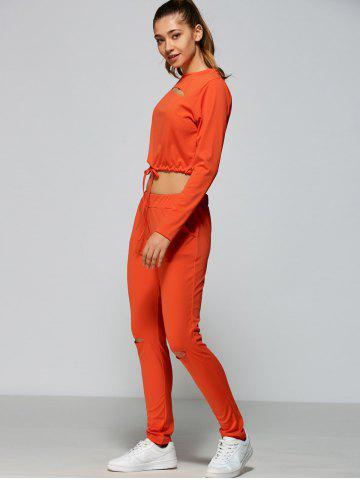 Buy Cropped Sweatshirt and High Waisted Ripped Pants - L ORANGE RED Mobile