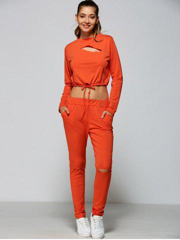 Outfit Cropped Sweatshirt and High Waisted Ripped Pants - L ORANGE RED Mobile