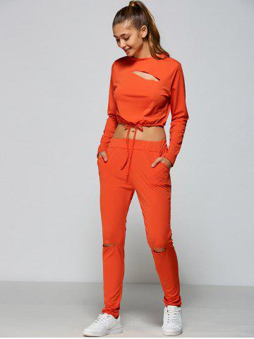 Online Cropped Sweatshirt and High Waisted Ripped Pants - L ORANGE RED Mobile